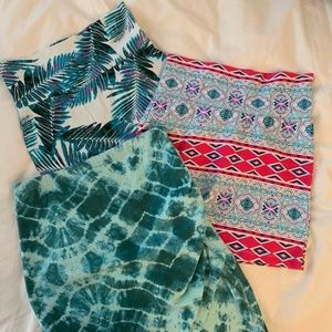 Three Charlotte Russe XS S Colorful Print Skirts